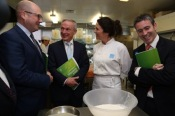Minister of State Ged Nash, Minister Richard Bruton, Lolly Strahan of Lolly & Cooks and Minister of State Damien English at the launch in the Liffey Trust Centre, 9th October 2014