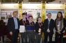Minister Damien English & Peter Evans of BT join Tom Fitzgerald, Conor Maguire, Joe Fitzgerald & Ms. O'Sullivan (teacher) from St. Patrick's Classical School, Navan at the 51st BT Young Scientist Exhibition in the RDS