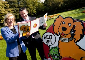 'Buster and the Belt Ups' lead School Transport Safety Campaign  Bus Éireann's new schools Seat Belt initiative is launched by Ministers Jan O'Sullivan and Damien English   Launching the campaign are Minister for Education and Skills Jan O'Sullivan TD and Damien English TD, Minister of State at the Department of Education and Skills. Photo Elaine Barker / Fennell Photography