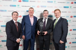Grand Prix Winner: Pictured at the Bank of Ireland Startup Awards are Minister Damian English with the Bank of Ireland  Grand Prix Startup Award winners Charlie McCarron and Colm Griffin from Gael Form Ltd, Ashbourne , Co Meath with Liam McLoughlin, Chief Executive Retail Ireland at Bank of Ireland.